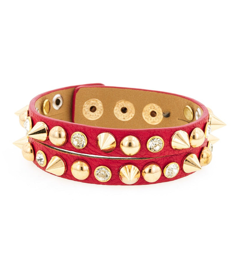 Badass Leatherette Bracelet-Red