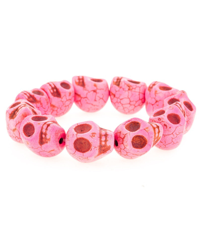 Day of the Dead Howlite Skull Bracelet-Pink (Large skulls)