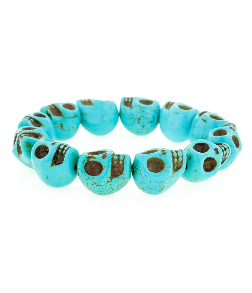 Day of Dead Jewelry Howlite-Turquoise (Large Skulls)