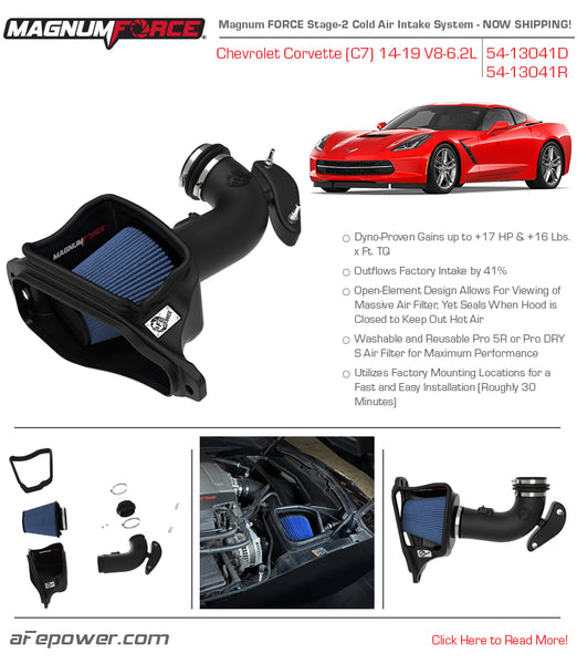 AFE Power: 2014-2019 Chevrolet Corvette C7 V8-6.2L Magnum FORCE Stage-2 Cold Air Intake System w/Pro 5R Filter Media