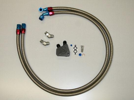 DeWitts: C6 Corvette Oil Cooler Line Kit braided lines and block