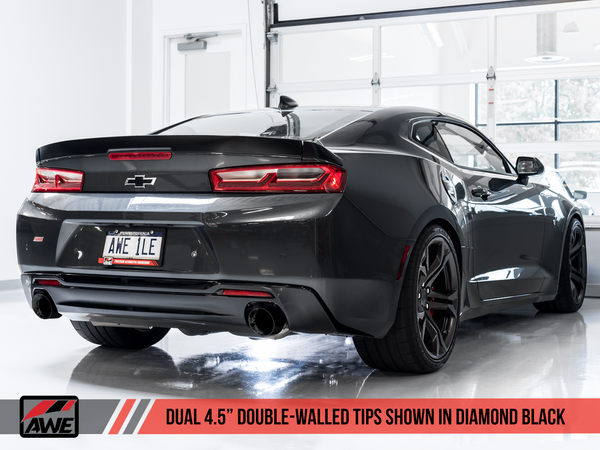 AWE: 2016-18 Chevrolet Camaro SS 6.2L - Touring Edition Catback Exhaust / Non-Resonated (Diamond Black Tips Dual Outlet)
