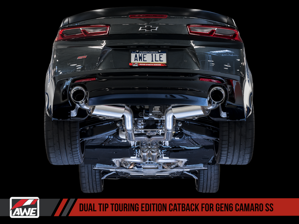 AWE: 2016-18 Chevrolet Camaro SS 6.2L - Touring Edition Catback Exhaust / Resonated (Chrome Silver Tips Dual Outlet)