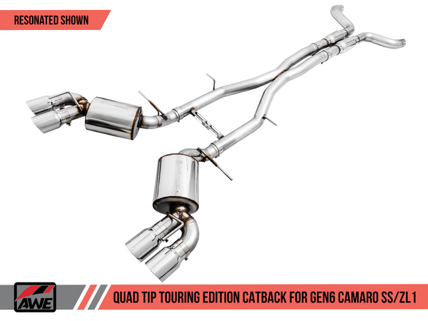 AWE: 2017-19 Chevrolet Camaro SS | ZL1 - Touring Edition Catback Exhaust Resonated (Chrome Silver Tips Quad Outlet)