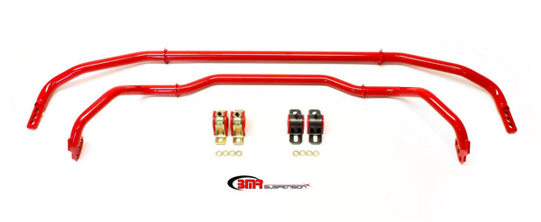 BMR: 2013-2015 Chevy Camaro Sway bar kit with bushings, front (SB038H) and rear (SB033H) Red