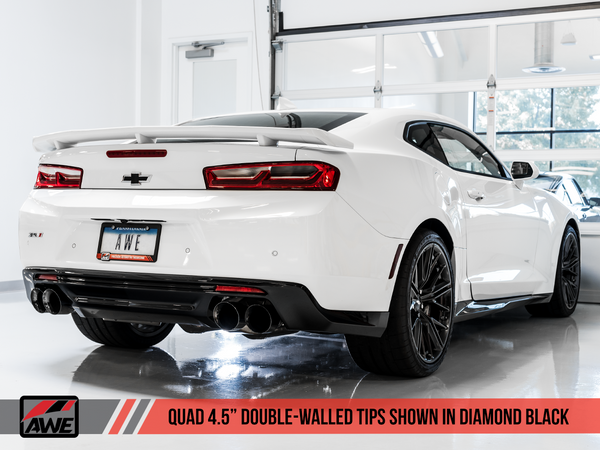 AWE: 2017-19 Chevrolet Camaro SS | ZL1 - Touring Edition Catback Exhaust Resonated (Diamond Black Tips Quad Outlet)