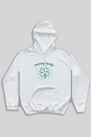 Feeling Lucky hoodie - white.