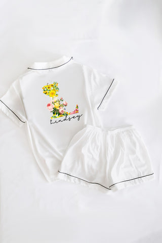 Custom White Flower Initial Pajamas.