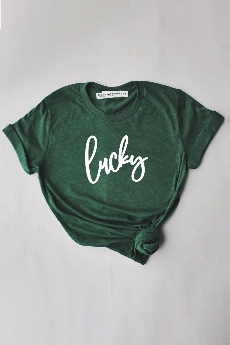 Lucky Script shirt - green.