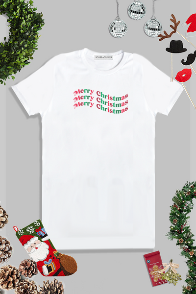 Colorful Merry Christmas wave tee.