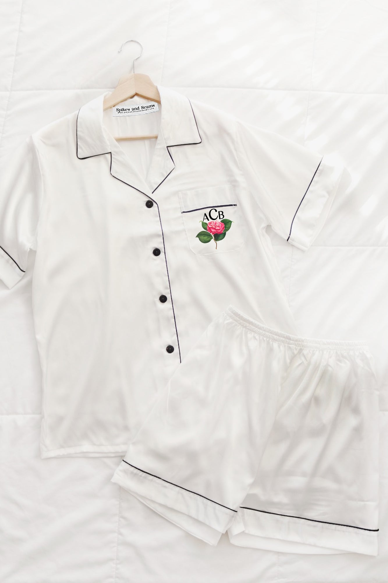 White rose print satin pajamas.