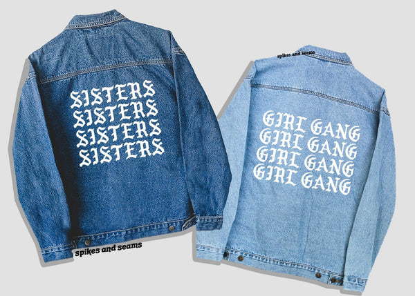Custom Denim Jacket - repeat font.