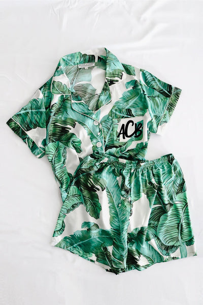 Custom Tropical Pajamas - text on front.