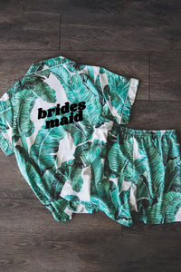 Custom Tropical Pajamas - text on front  - Spikes and Seams