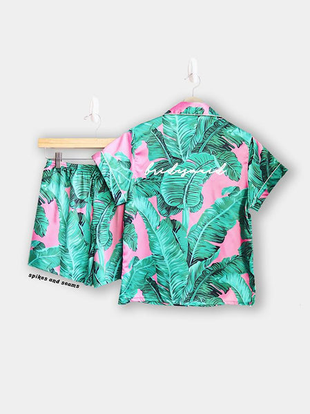 Pink Tropical Pajamas - text on back.
