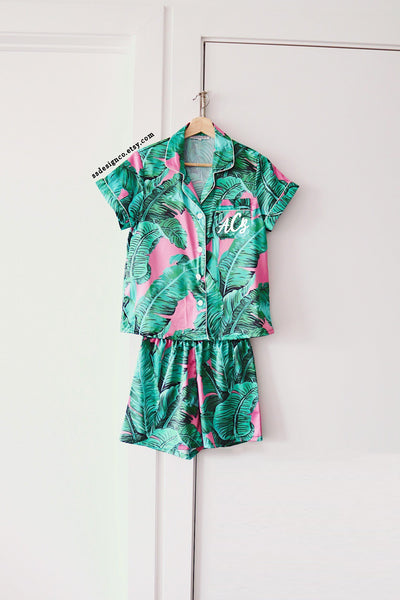 Custom Pink Banana Leaf Pajamas - text on front.