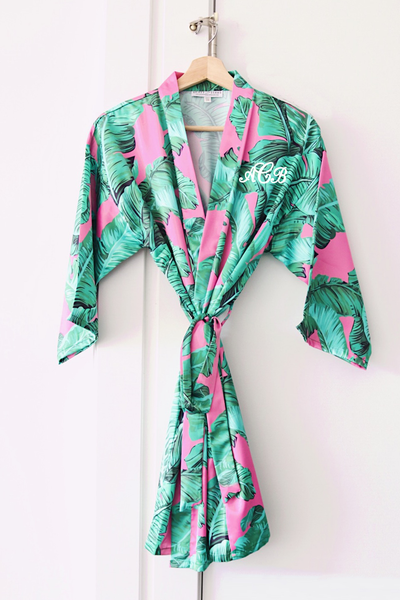 Pink Banana Leaf Robe - text on front