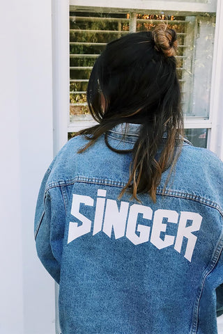 Custom Denim Jacket - rocker font