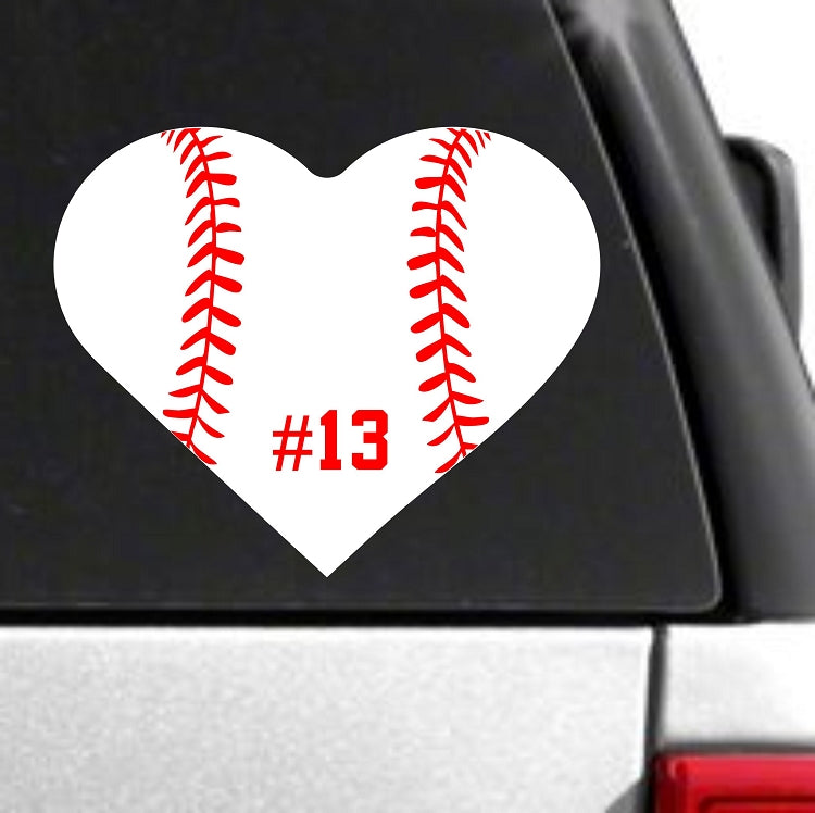 Custom Baseball Heart Decal