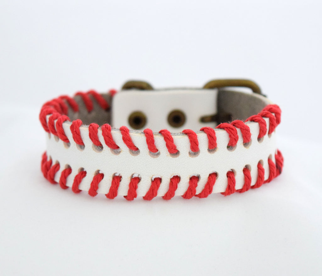 Handmade Leather Red Stitch Bracelet
