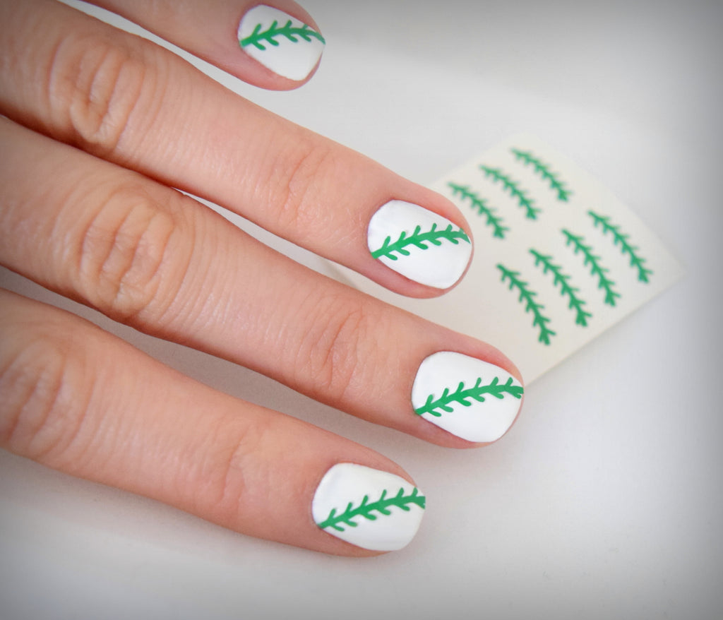 Baseball Nail Stickers (Green)