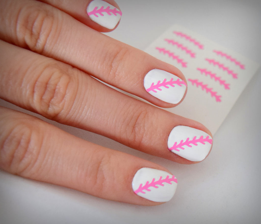 Baseball Nail Stickers (Pink)