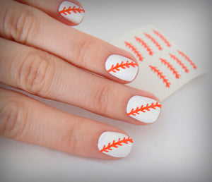 Baseball Nail Stickers (Orange)
