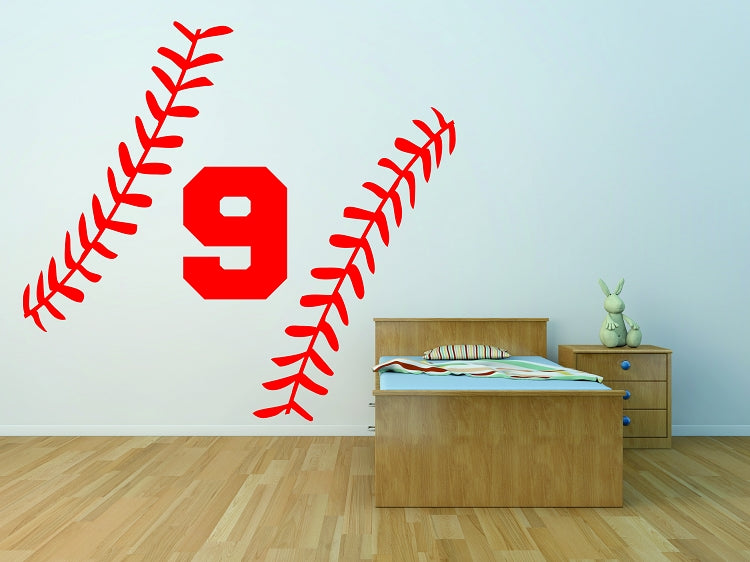 Custom Baseball Stitches Wall Decal