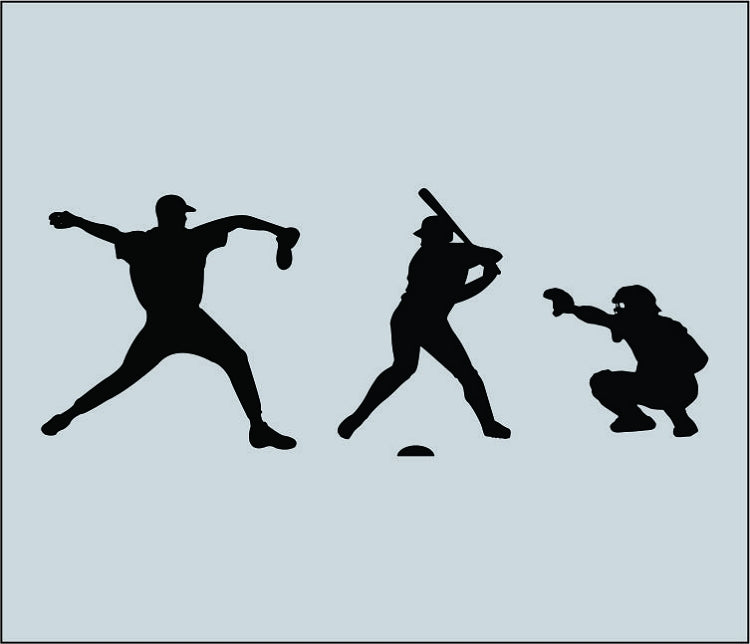 3 Baseball Players Wall Decal