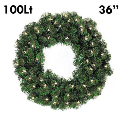 Pine Lit Christmas Wreath - 36