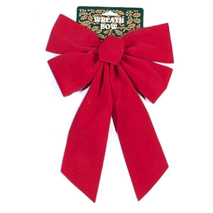"11"" Red Velvet Wreath Bow (PK-24)"