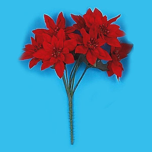 Red Poinsettia Bush with 7 stems