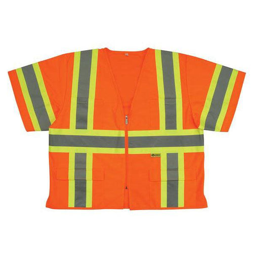 ANSI Class 3 Vest - Orange - Contrasting Stripes