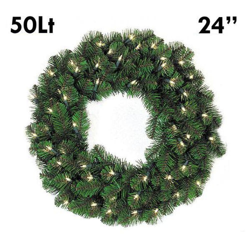 Pine Lit Christmas Wreath - 24