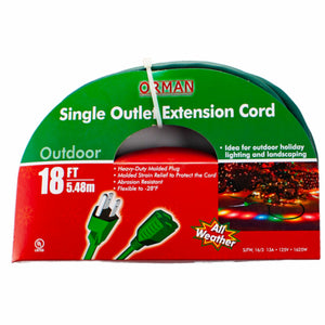 18 ft Single Outlet Extension Cord