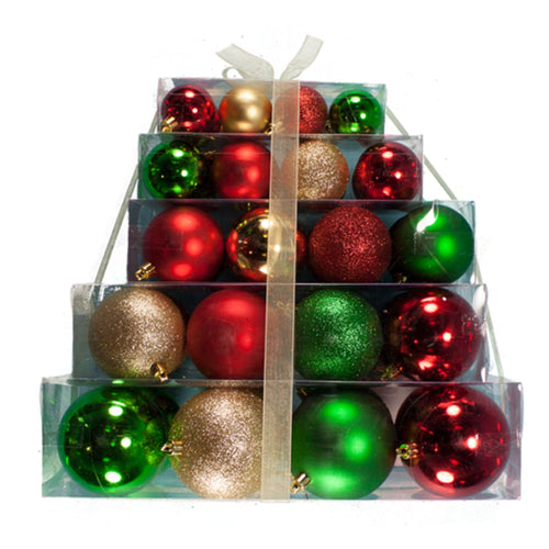 Shatterproof Assorted 40 Pack Ornament Set (Case of 4)