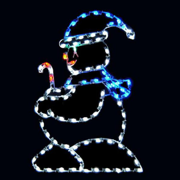 5' Silhouette Snowkid with Candy Cane