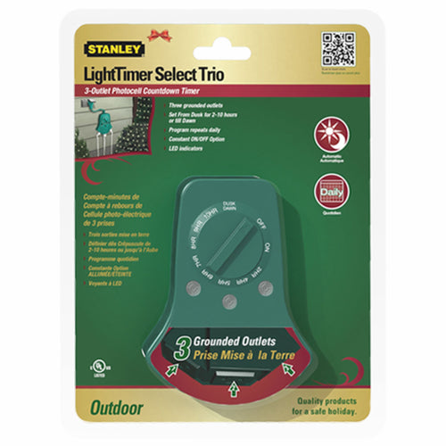 3 Outlet Outdoor Photocell Timer with Dial (PK-5)