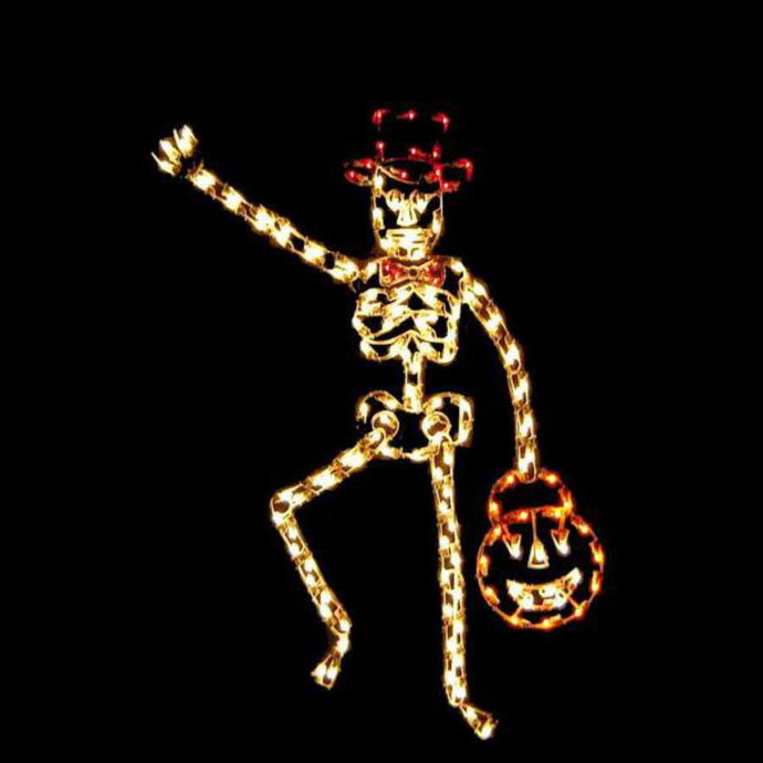 7' Silhouette Animated Skeleton with Hat