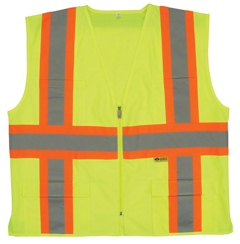 ANSI Class 2 Vest - Orange - Contrasting Stripes