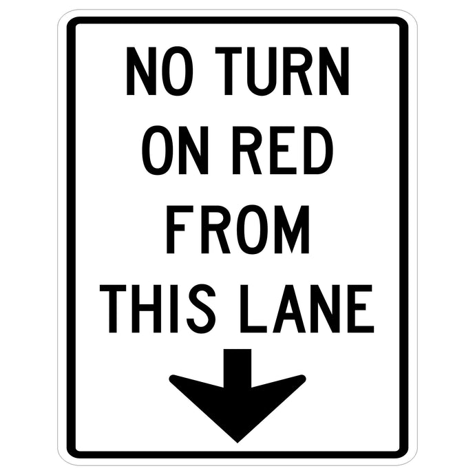 No Turn on Red From This Lane