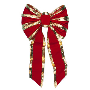 "14""  Red Gold Velvet 7 Loop Bow (PK-12)"