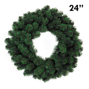 "24"" PVC Pine Christmas Wreath, 120 Tip 