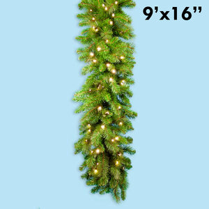 "9' x 16"" Prelit LED Mixed Pine Garland Warm White 