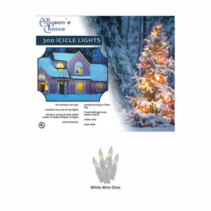 "26ft Incandescent Icicle Light Set 6"" Spaced"