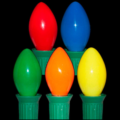 C7 Multi Color LED Light Bulbs | Smooth Opaque