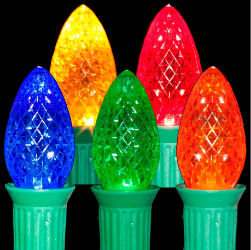 C7 Multi Color LED Light Bulbs | Transparent Faceted