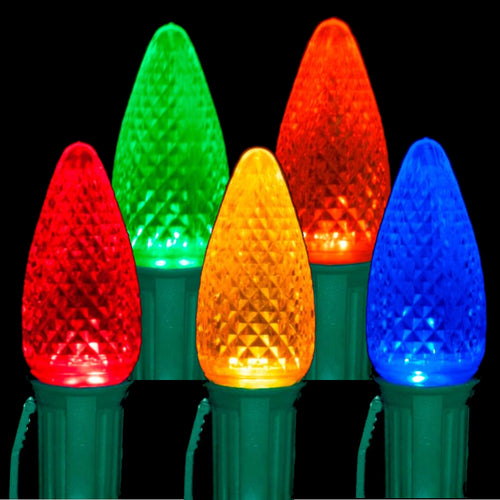 C9 Multi Color LED Light Bulbs | Transparent Faceted