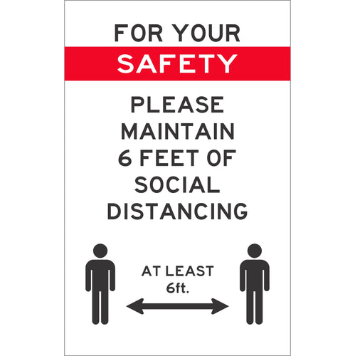 Covid-19 For Your Safety Vertical Styrene Sign