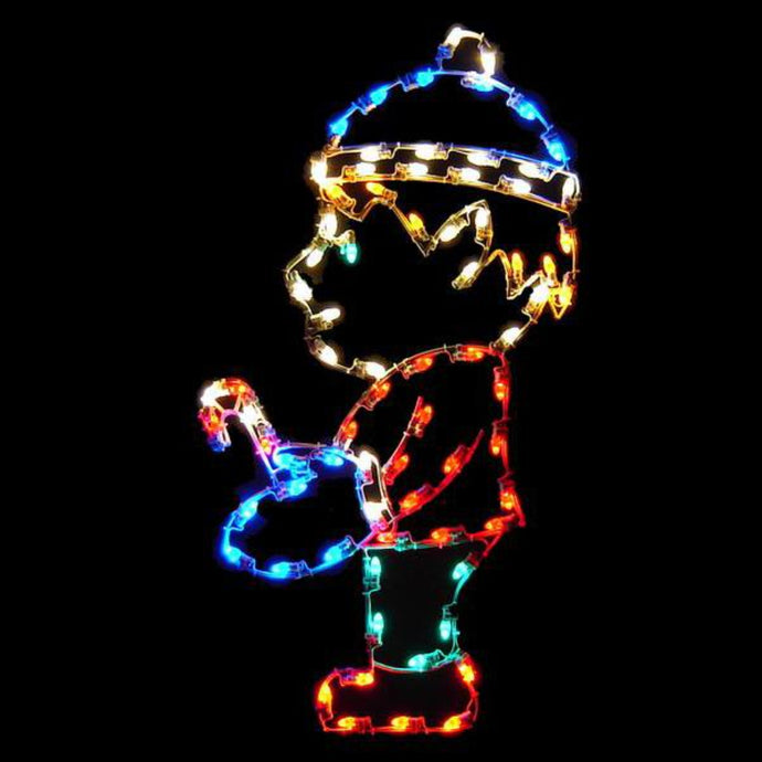 5' Silhouette Elf with Candy Cane